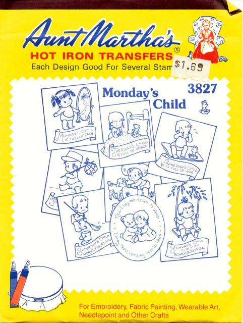 Vintage Transfer Pattern Aunt Martha's Mondays Child Baby Infant 3827 - VintageStitching - Vintage Sewing Patterns