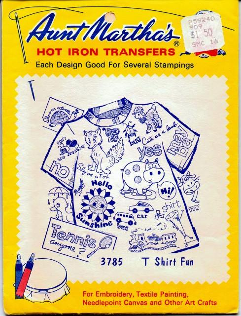 Vintage Transfer Pattern Aunt Martha's T-Shirt Fun 3785 - VintageStitching - Vintage Sewing Patterns