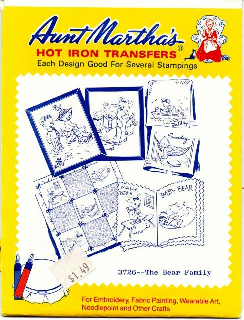 Vintage Transfer Pattern Aunt Martha's The Bear Family 3726 - VintageStitching - Vintage Sewing Patterns