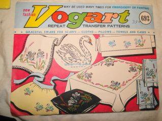 Vintage Transfer Pattern Graceful Swans Vogart 693 1950's - VintageStitching - Vintage Sewing Patterns