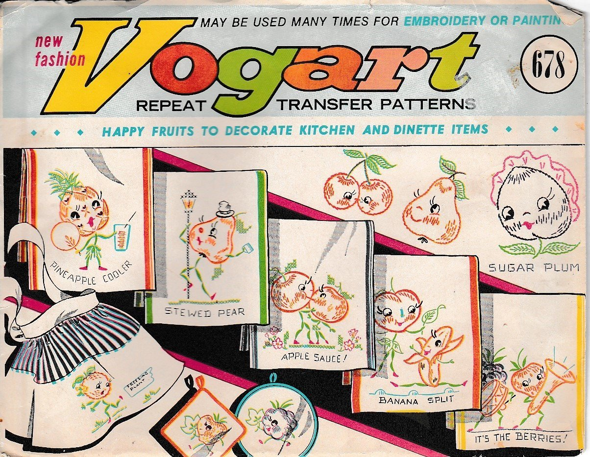 Vogart 678 Happy Fruit Kitchen Dinette Transfer Pattern Vintage Craft - VintageStitching - Vintage Sewing Patterns
