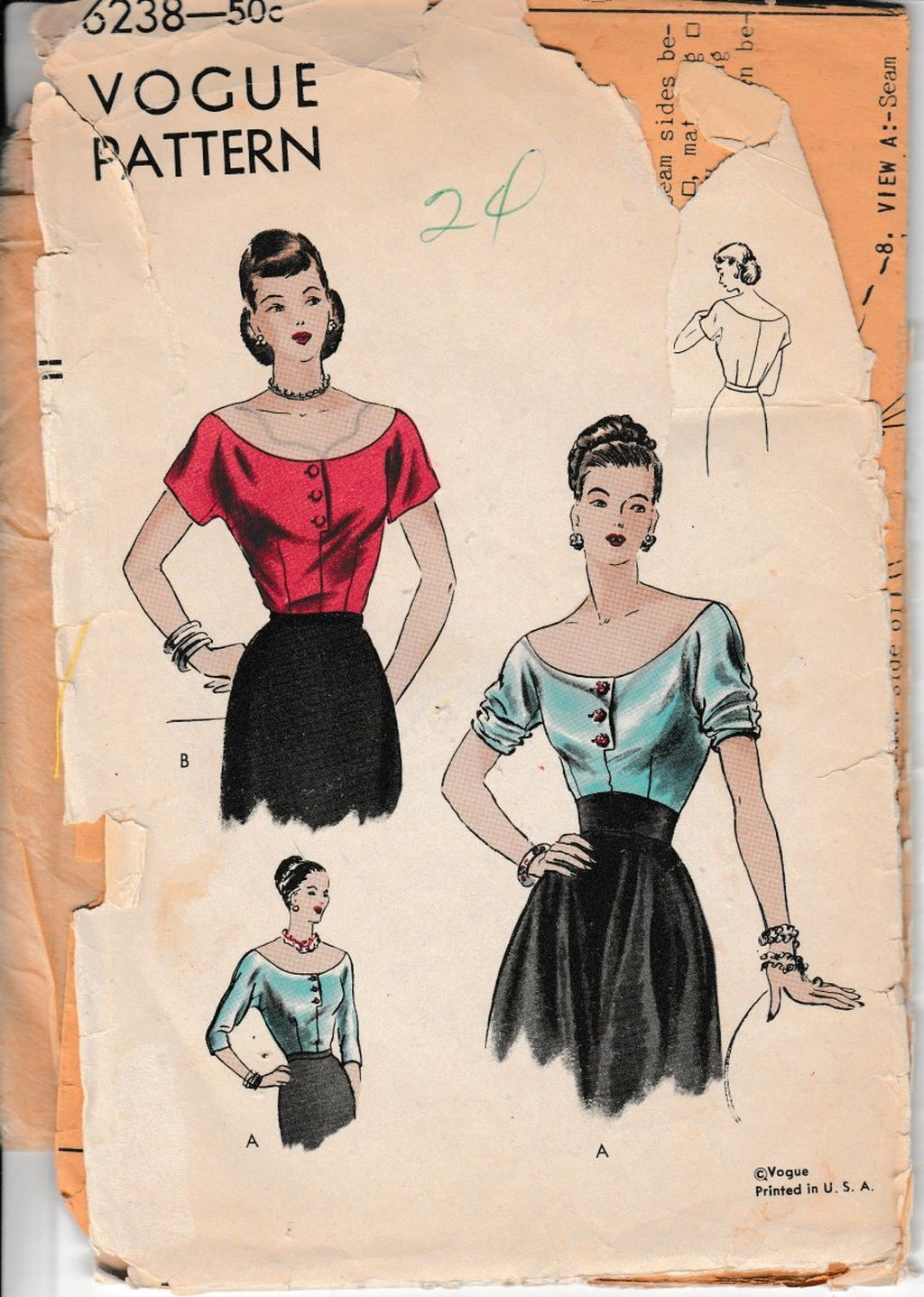 Vogue 6238 Ladies Off Shoulder Blouse Vintage 1940's Sewing Pattern Unprinted - VintageStitching - Vintage Sewing Patterns