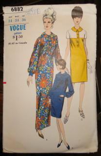 Vogue 6882 Vintage Sewing Pattern Ladies Shirtdress Long Short 1960's - VintageStitching - Vintage Sewing Patterns