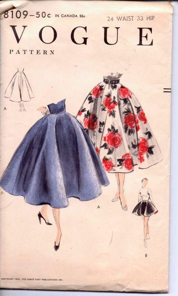 Vogue 8109 Vintage 1950's Sewing Pattern Ladies Full Circle Skirt Cocktail Party - VintageStitching - Vintage Sewing Patterns