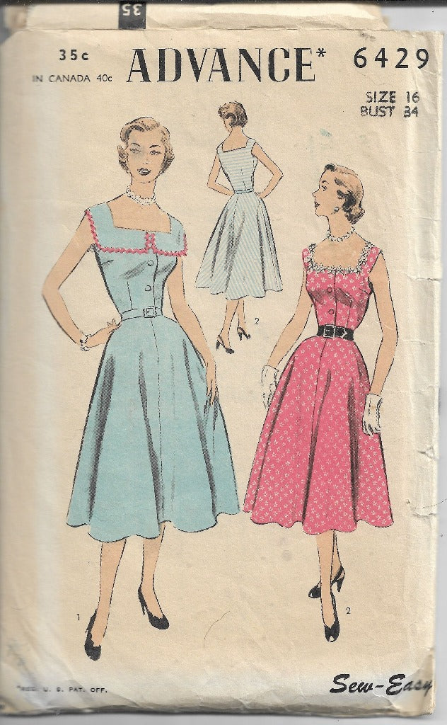 Advance 6429 Vintage Sewing Pattern 1950s Ladies Sleeveless Jumper Dress - VintageStitching - Vintage Sewing Patterns