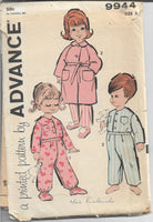Advance 9944 Toddlers Boys Girls Pajamas Robe Vintage  Sewing Pattern 1960s - VintageStitching - Vintage Sewing Patterns