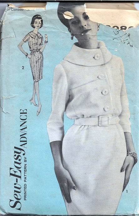 Advance 3080 Ladies Shirtwaist Sheath Dress Cowl Neck Vintage Sewing Pattern