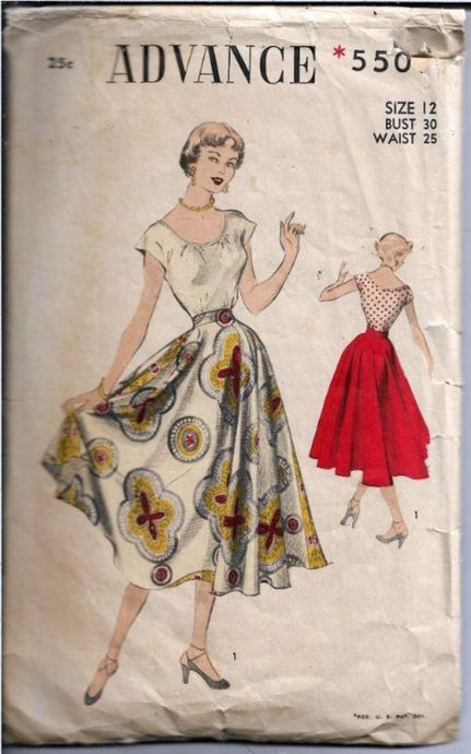 Advance 5509 Ladies Scoop Blouse and Circle Swing Skirt Vintage 1940's Sewing Pattern - VintageStitching - Vintage Sewing Patterns