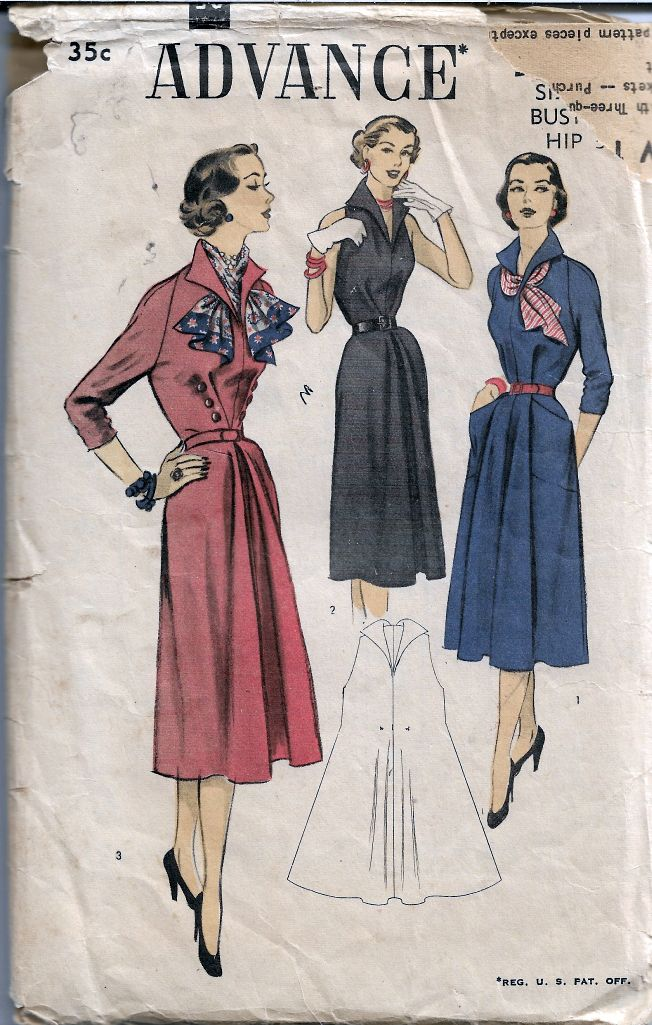 Advance 5871 Ladies Tent Dress Vintage Sewing Pattern 1950s
