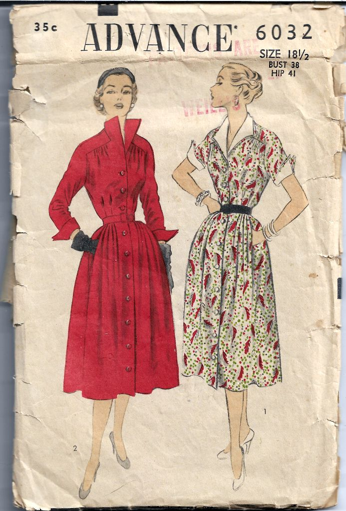 Advance 6032 Button Front Dress Vintage Sewing Pattern