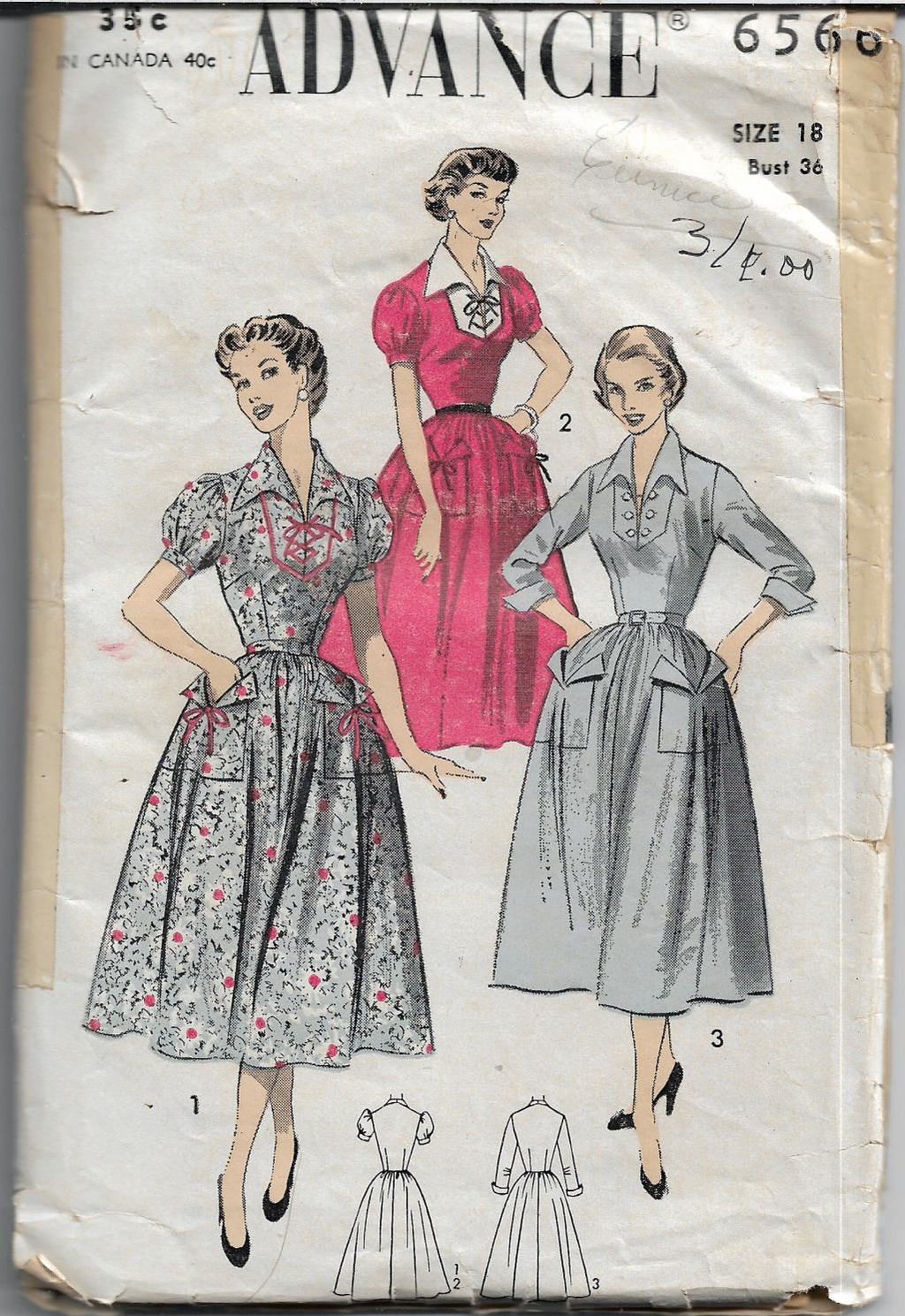 Advance 6566 Dress Wing Collar Puff Sleeves Vintage Sewing Pattern
