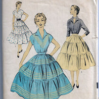 Advance 6760 Two Piece Dress Blouse Full Skirt Vintage Sewing Pattern