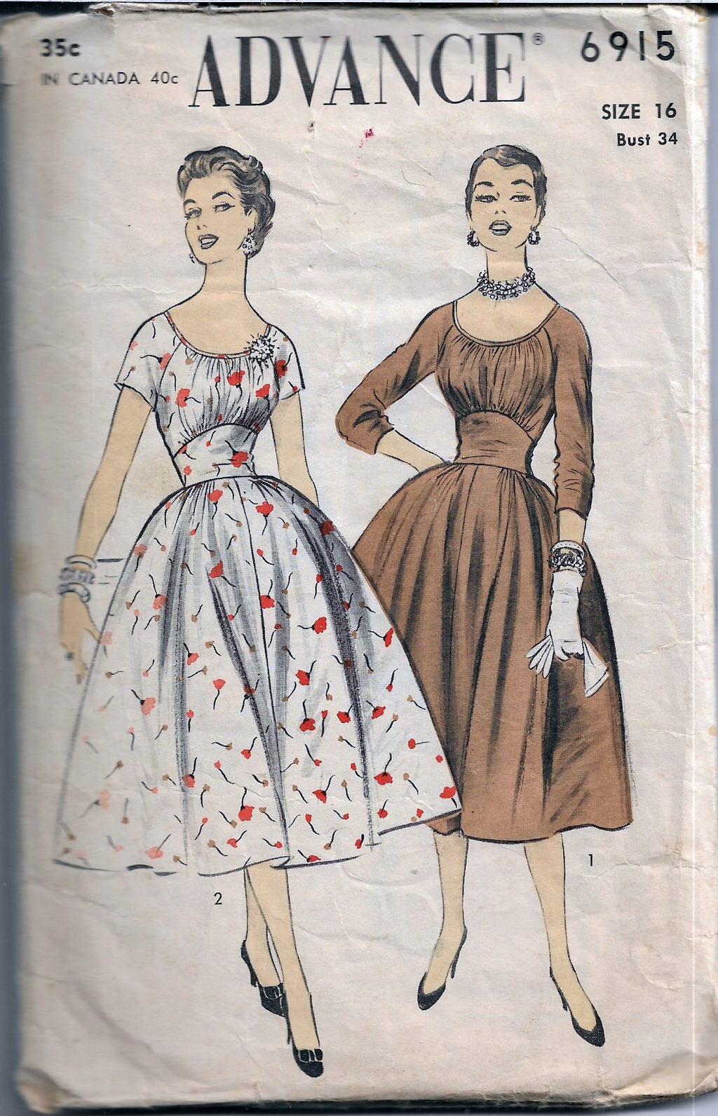 Advance 6915 Rockabilly Dress Empire Waist Vintage Sewing Pattern
