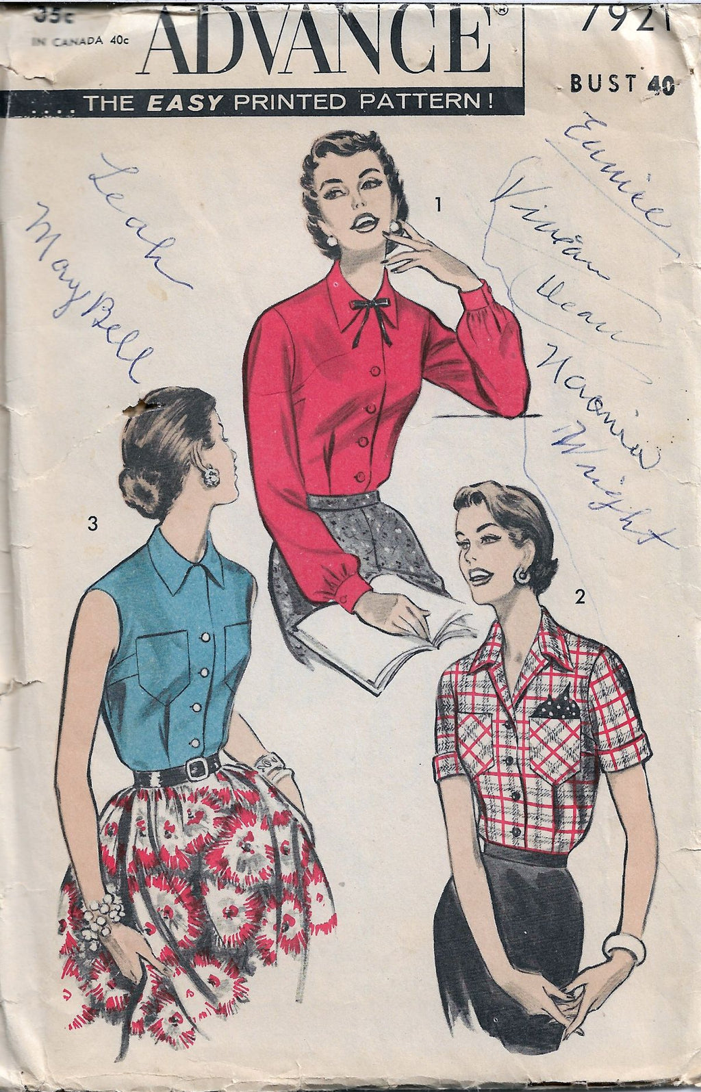 advance 7921 ladies blouse vintage sewing pattern 1950s