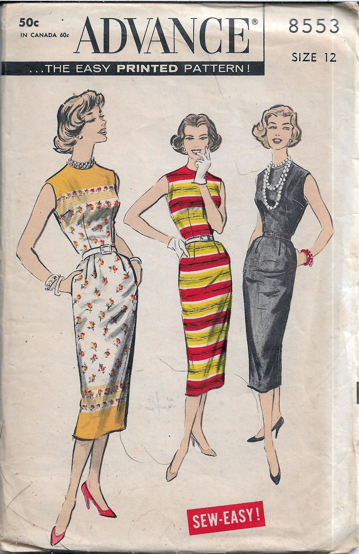 Advance 8553 Sleeveless Sheath Dress Vintage Sewing Pattern