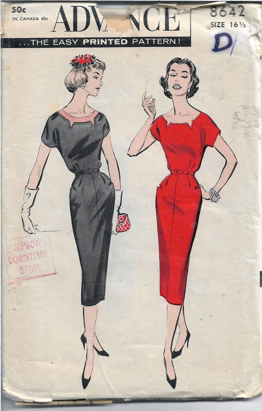 advance 8642 ladies dress vintage pattern 1950s