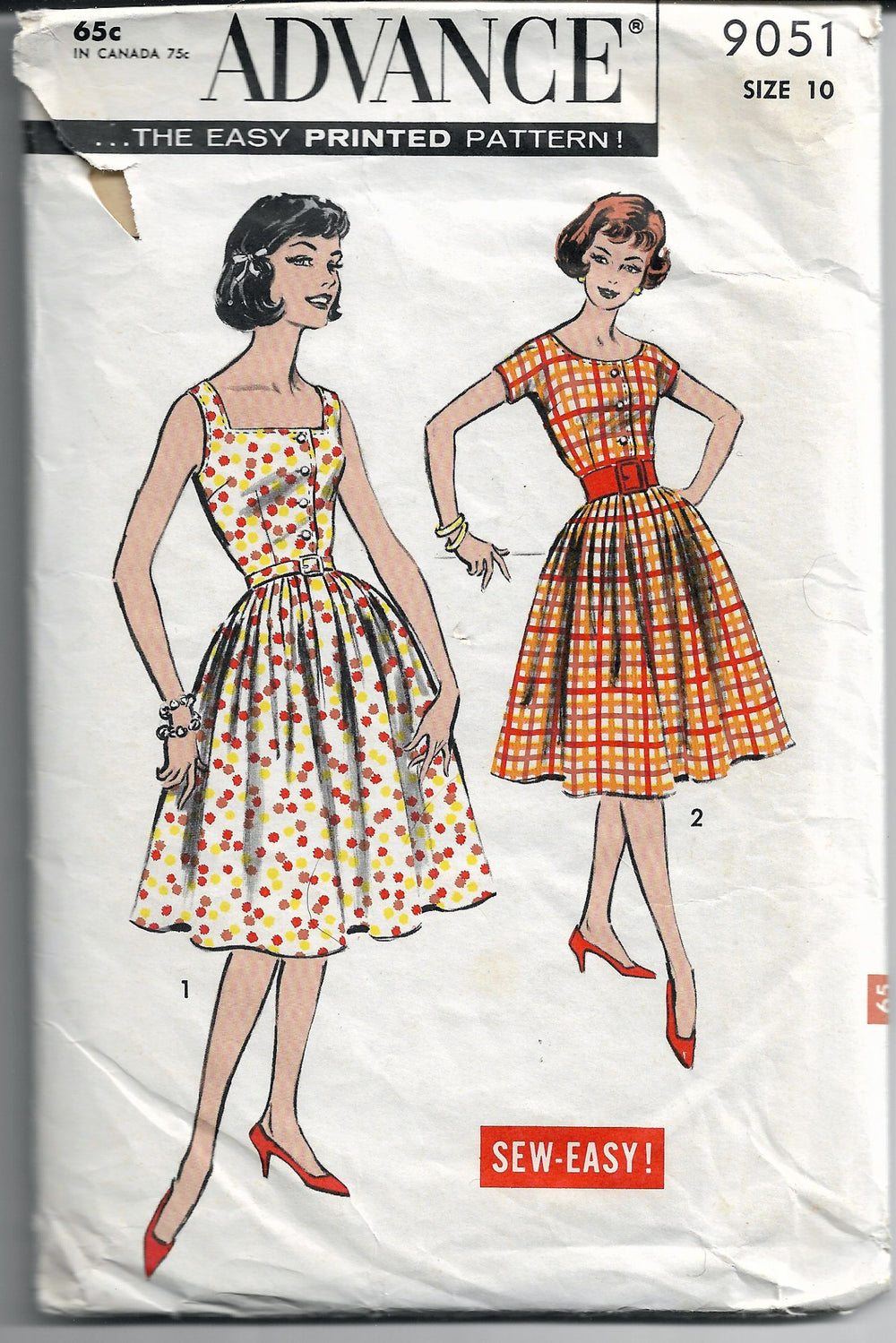 advance 9051 dress vintage pattern 1950s