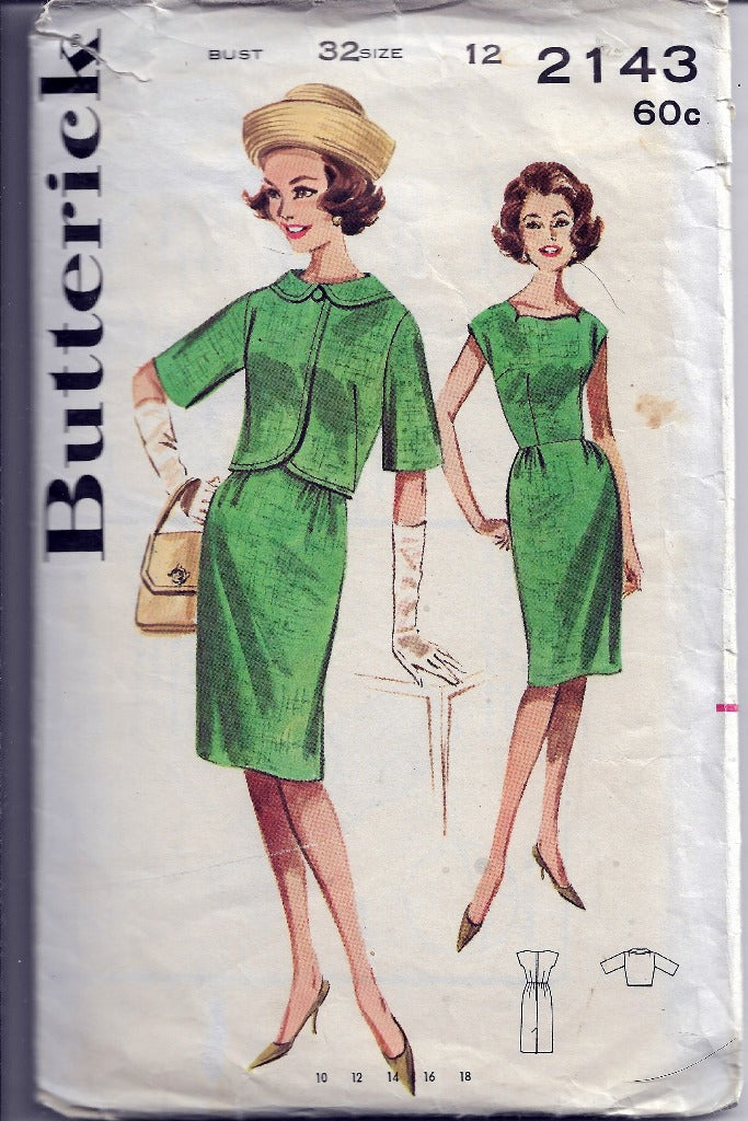Butterick 2143 Vintage Sewing Pattern 1960s Ladies Sheath Dress Bolero Jacket - VintageStitching - Vintage Sewing Patterns