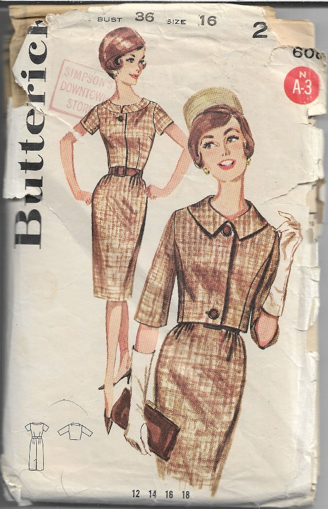 Butterick 2181 Vintage Sewing Pattern 1960s Ladies Sheath Dress Bolero Jacket - VintageStitching - Vintage Sewing Patterns