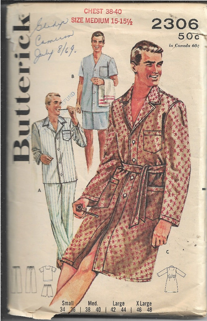 Butterick 2306 Vintage Sewing Pattern 1960s Mens Pajamas Robe - VintageStitching - Vintage Sewing Patterns