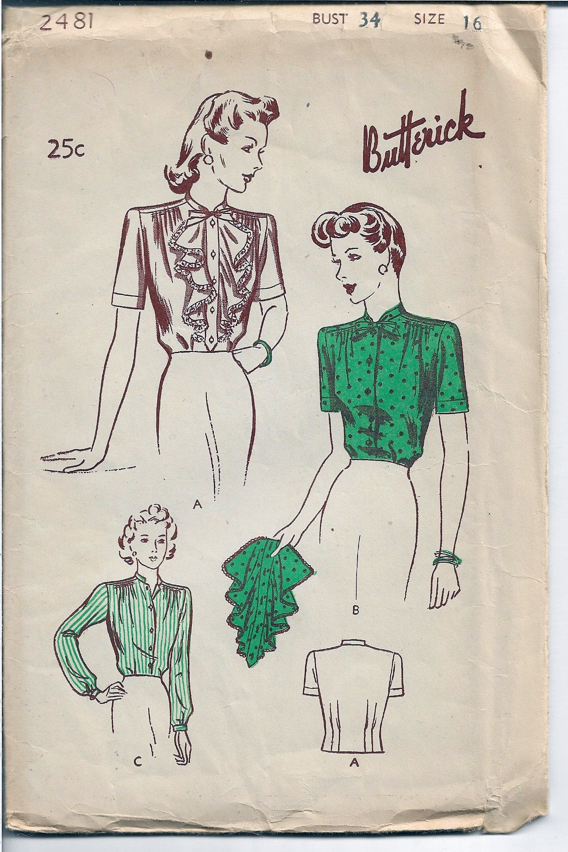 Butterick 2481 Ladies Frilly Jabot Blouse Vintage Sewing Pattern 1940s - VintageStitching - Vintage Sewing Patterns
