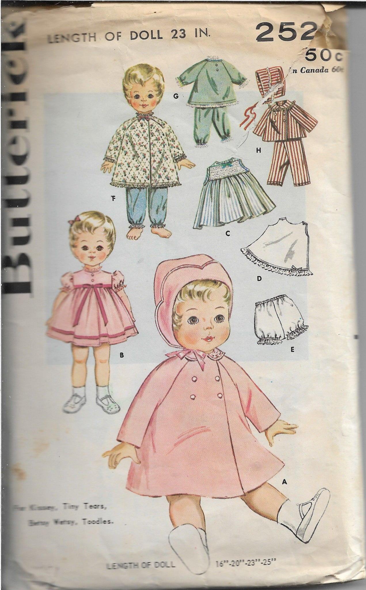 Butterick 2520  Kissy Betsy Wardrobe Vintage Craft Sewing Pattern 1960s - VintageStitching - Vintage Sewing Patterns