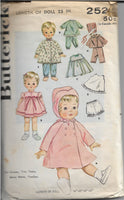 butterick 2520 doll vintage pattern