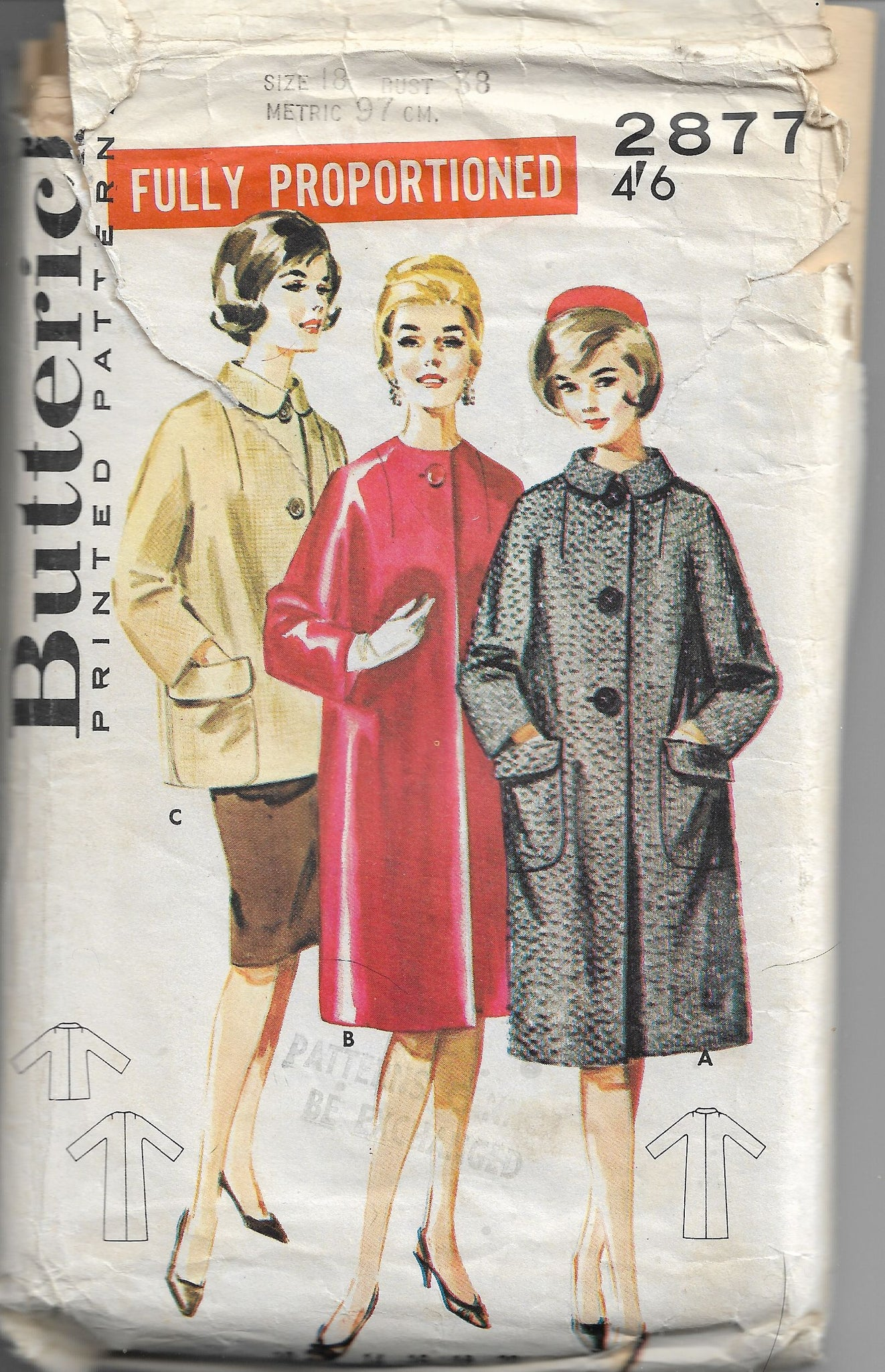 Butterick 2877 Vintage Sewing Pattern 1960s Ladies Dressy Coat - VintageStitching - Vintage Sewing Patterns