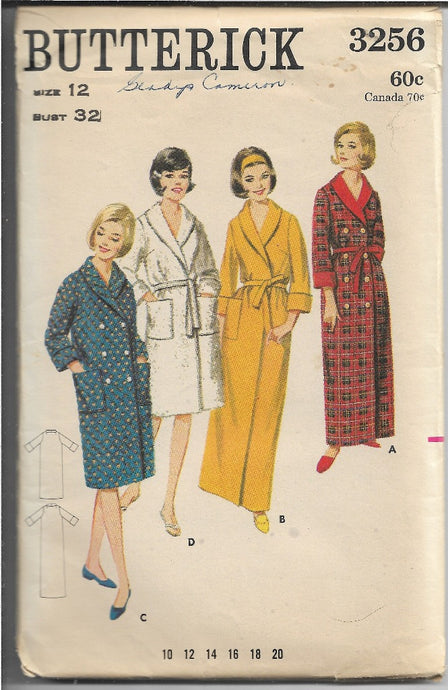 Butterick Vintage Sewing Pattern 1960s Ladies Robe Housecoat - VintageStitching - Vintage Sewing Patterns