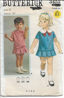 Butterick 3452 Vintage 60's Pattern Little Girls Toddlers One Piece Dress Box Pleats