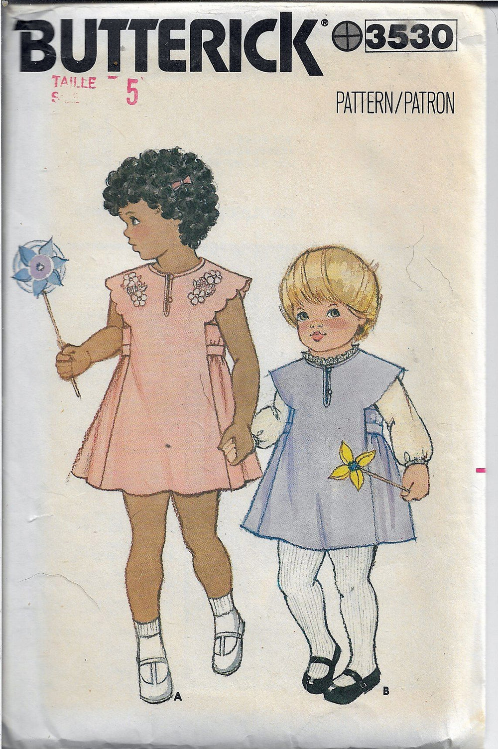 Butterick 3530 Little Girls Jumper Flared Dress Vintage Sewing Pattern 1980s - VintageStitching - Vintage Sewing Patterns