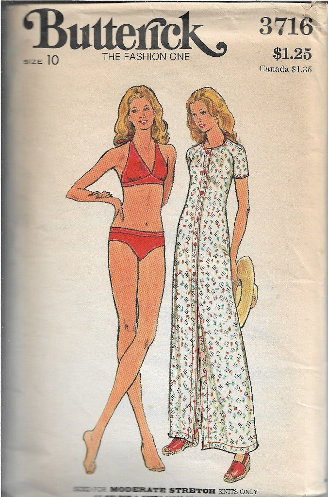 Butterick 3716 Bikini Beach Coverup Vintage Sewing Pattern 1970s - VintageStitching - Vintage Sewing Patterns
