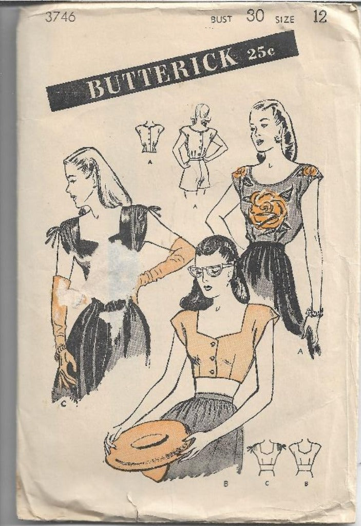 Butterick 3746 Vintage Sewing Pattern 1940s Ladies Blouse Bare Midriff Crop Top - VintageStitching - Vintage Sewing Patterns