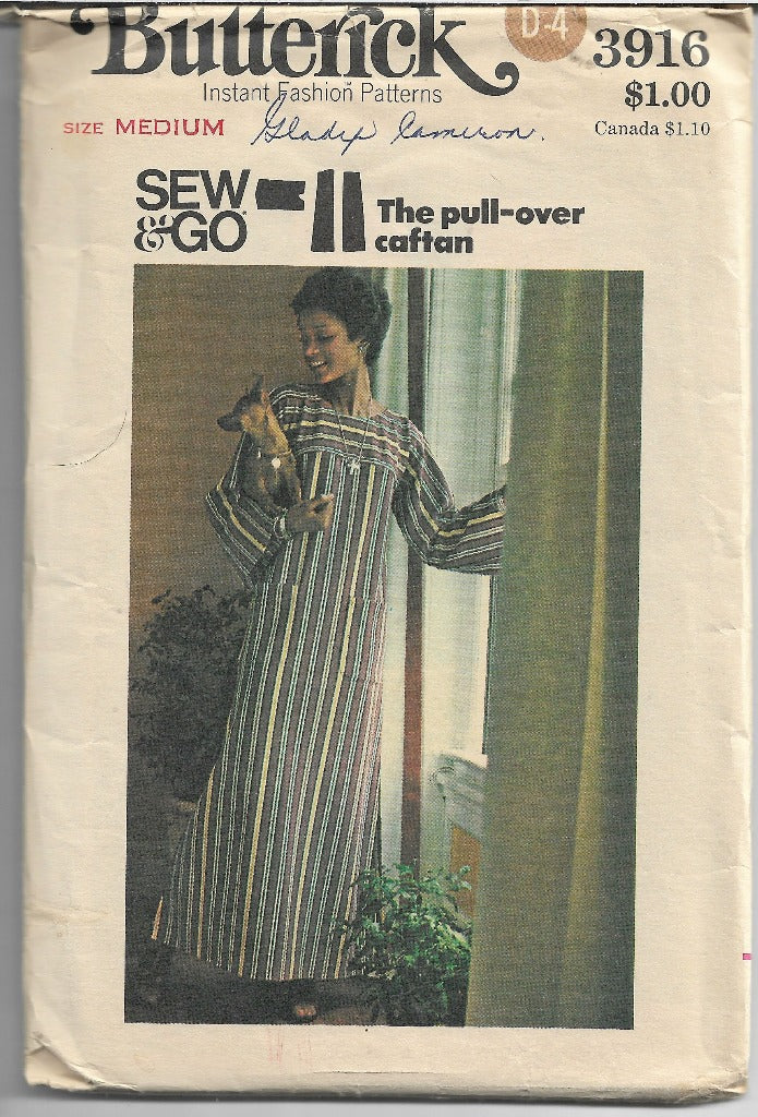 Butterick 3916 Vintage Sewing Pattern 1970s Ladies Caftan Dress - VintageStitching - Vintage Sewing Patterns