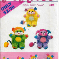 Butterick 4078 Popples Stuffed Bear Vintage Sewing Craft Pattern 1980s - VintageStitching - Vintage Sewing Patterns