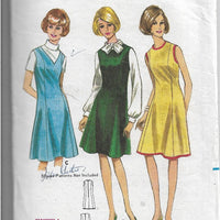 Butterick 4085 Vintage Sewing Pattern 1960s Ladies Jumper Sleeveless Dress - VintageStitching - Vintage Sewing Patterns