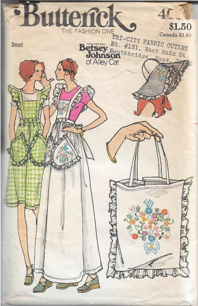 Butterick 4090 Jumper Dress Hat Bag Betsey Johnson Vintage Sewing Pattern 1970s - VintageStitching - Vintage Sewing Patterns