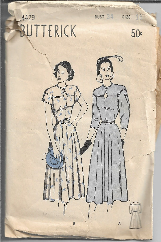 Butterick 4429 Ladies Day Dress Vintage Sewing Pattern 1940s - VintageStitching - Vintage Sewing Patterns