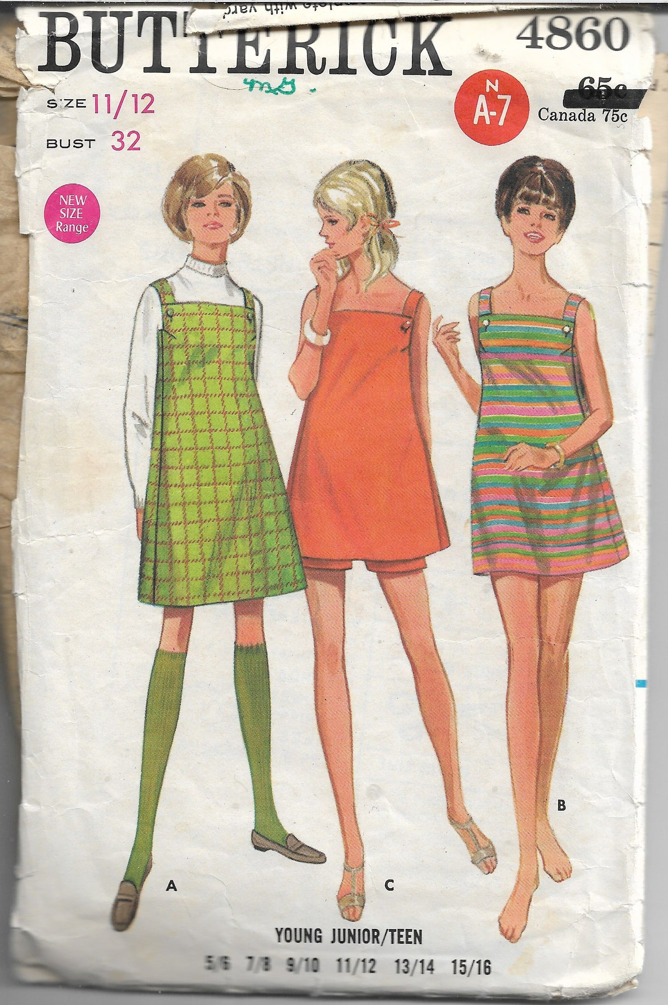 Butterick 4860 Vintage Sewing Pattern 1960s Ladies Jumper Dress Shorts - VintageStitching - Vintage Sewing Patterns