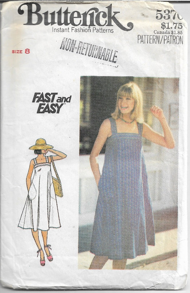 Butterick 5370 Vintage Sewing Pattern 1970s Ladies Tent Dress - VintageStitching - Vintage Sewing Patterns