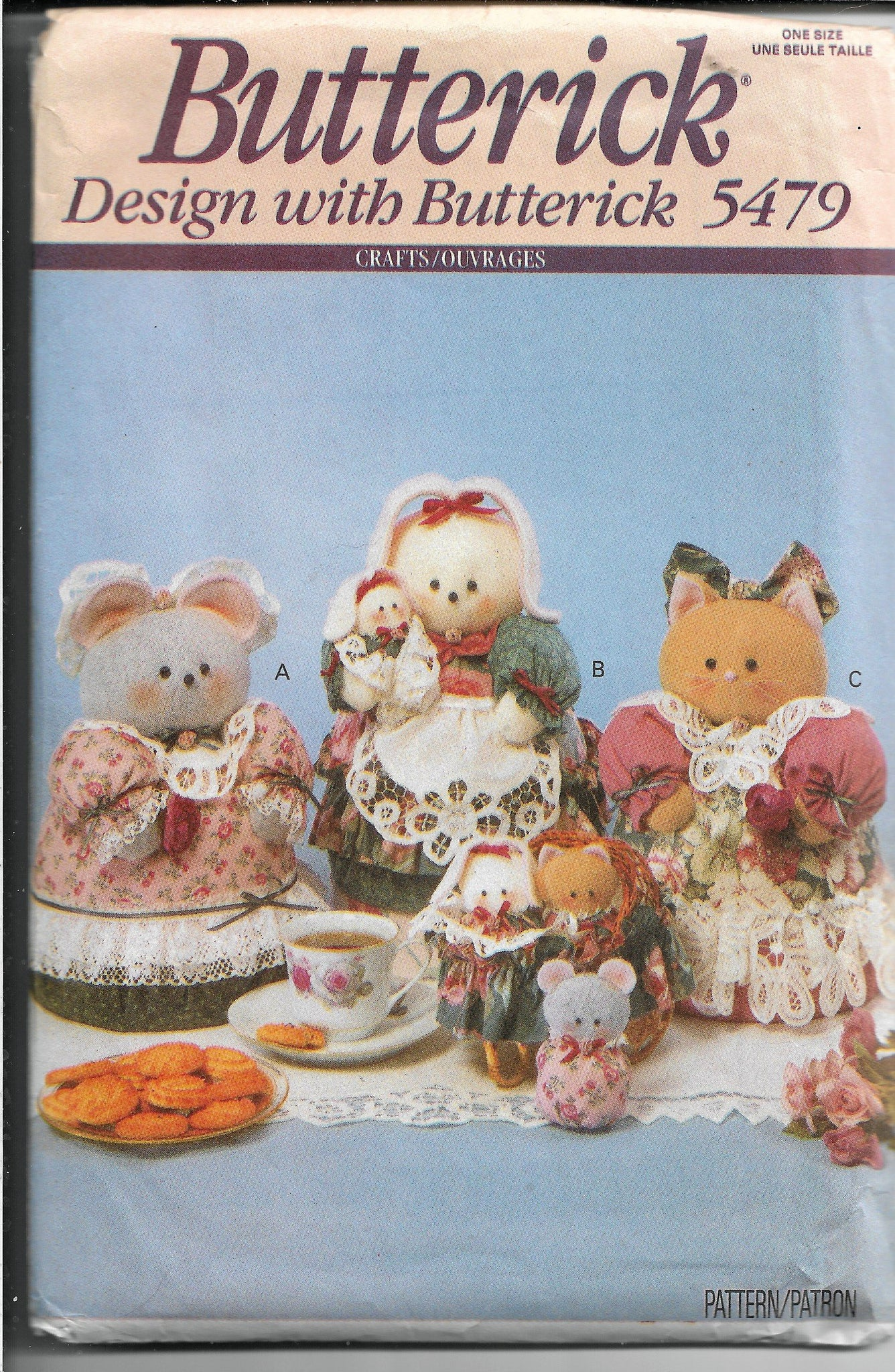 Butterick 5479 Cookie Tin Cover Mouse Bunny Kitten Sewing Craft Pattern 1990s - VintageStitching - Vintage Sewing Patterns