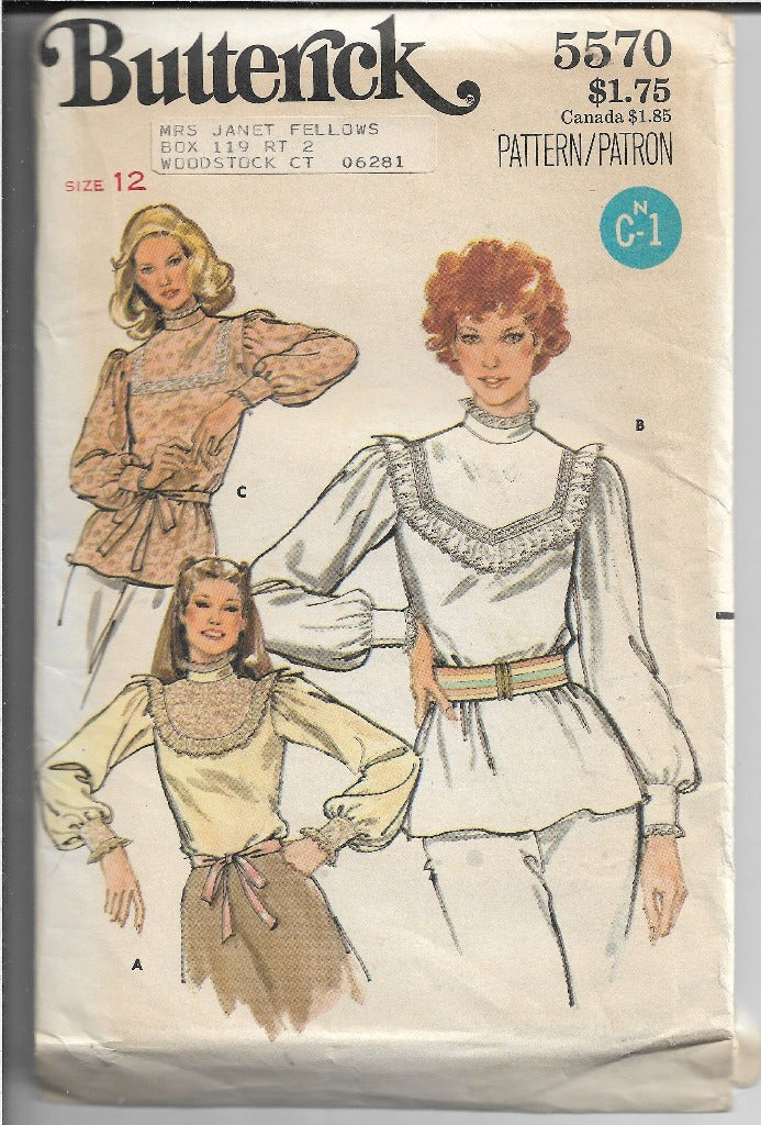 Butterick 5570 Ladies Blouse Vintage Sewing Pattern 1970s - VintageStitching - Vintage Sewing Patterns