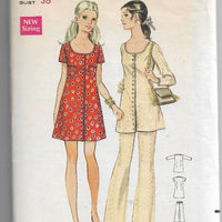 Butterick 5591 Ladies Mini Dress Pants Tunic Vintage Sewing Pattern 1960s - VintageStitching - Vintage Sewing Patterns