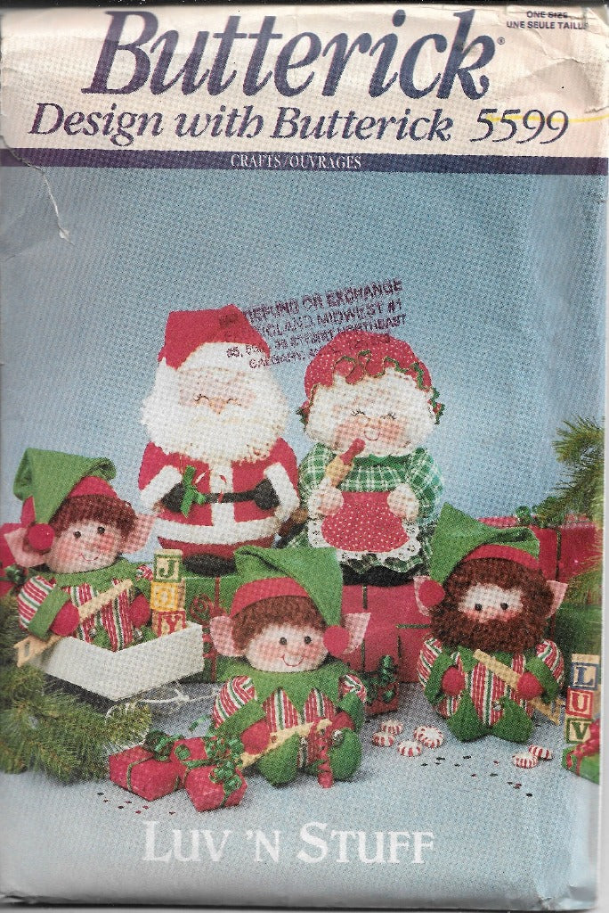 Butterick 5599 Sewing Craft Pattern Christmas Santa Mrs Claus - VintageStitching - Vintage Sewing Patterns