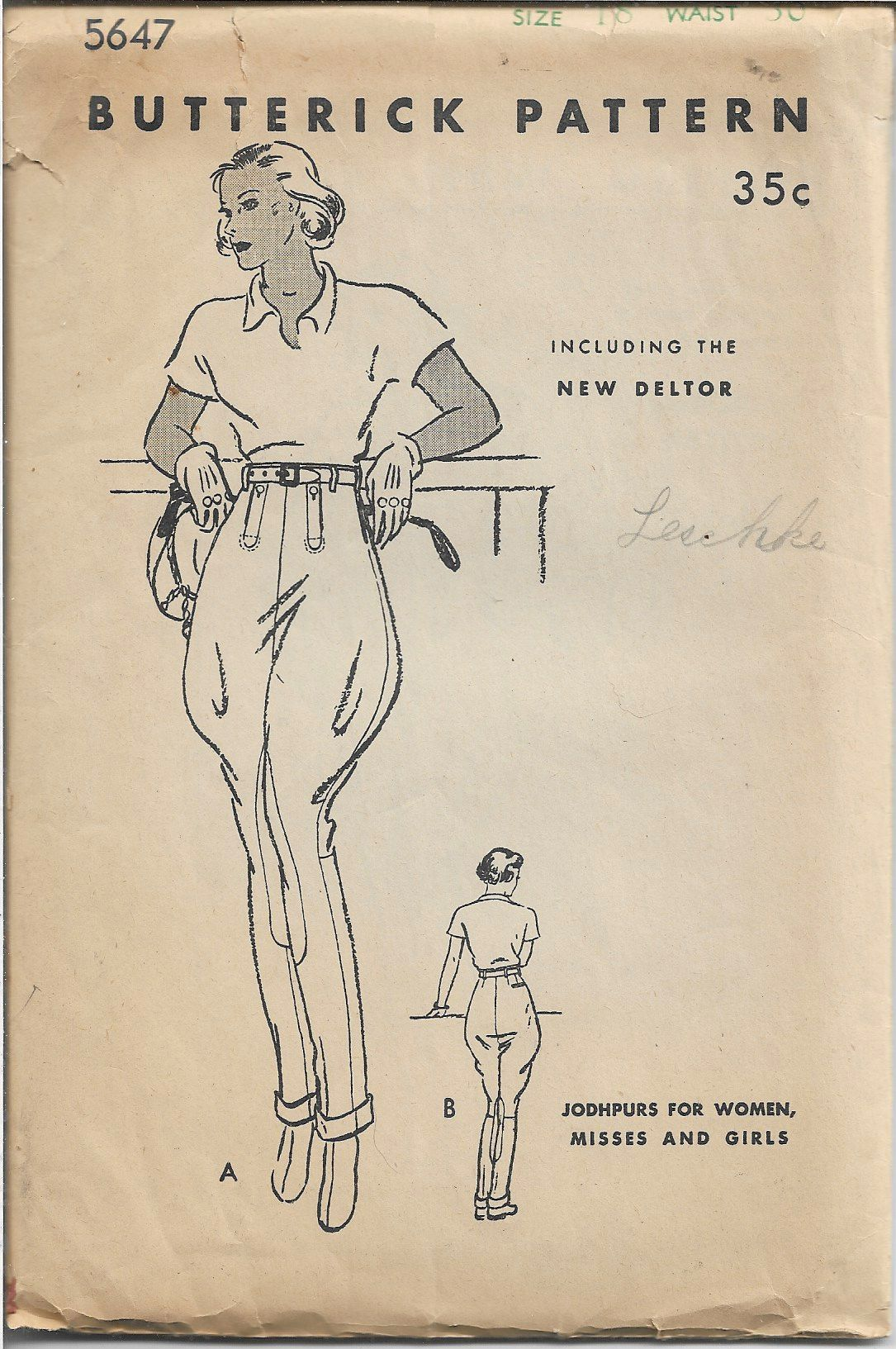 Butterick 5647 Ladies Jodhpurs Riding Pants Breeches Vintage Sewing Pattern 1930s - VintageStitching - Vintage Sewing Patterns