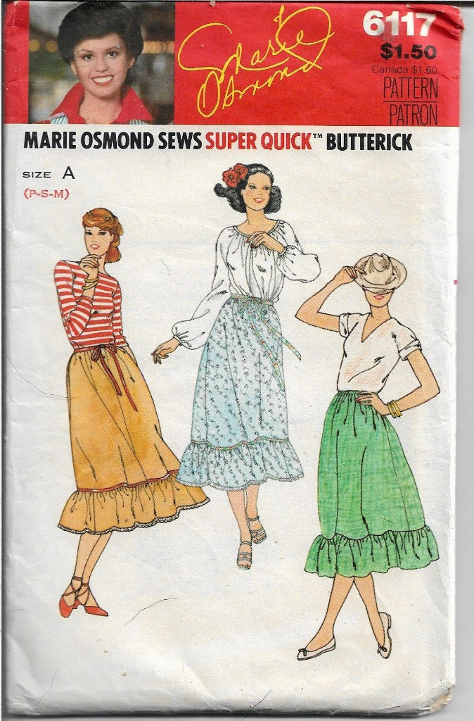 Butterick 6117 Ladies Skirt Marie Osmond Vintage Sewing Pattern 1970's - VintageStitching - Vintage Sewing Patterns