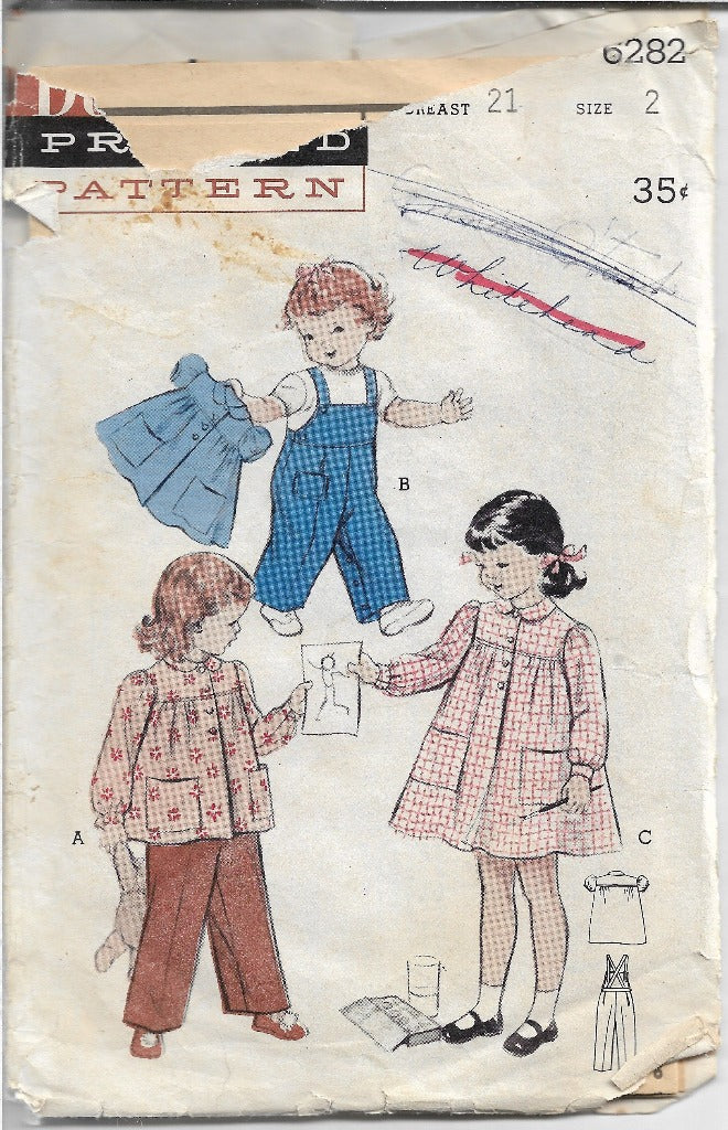 Butterick 6282 Toddler Smock Overalls Vintage Sewing Pattern 1950s - VintageStitching - Vintage Sewing Patterns