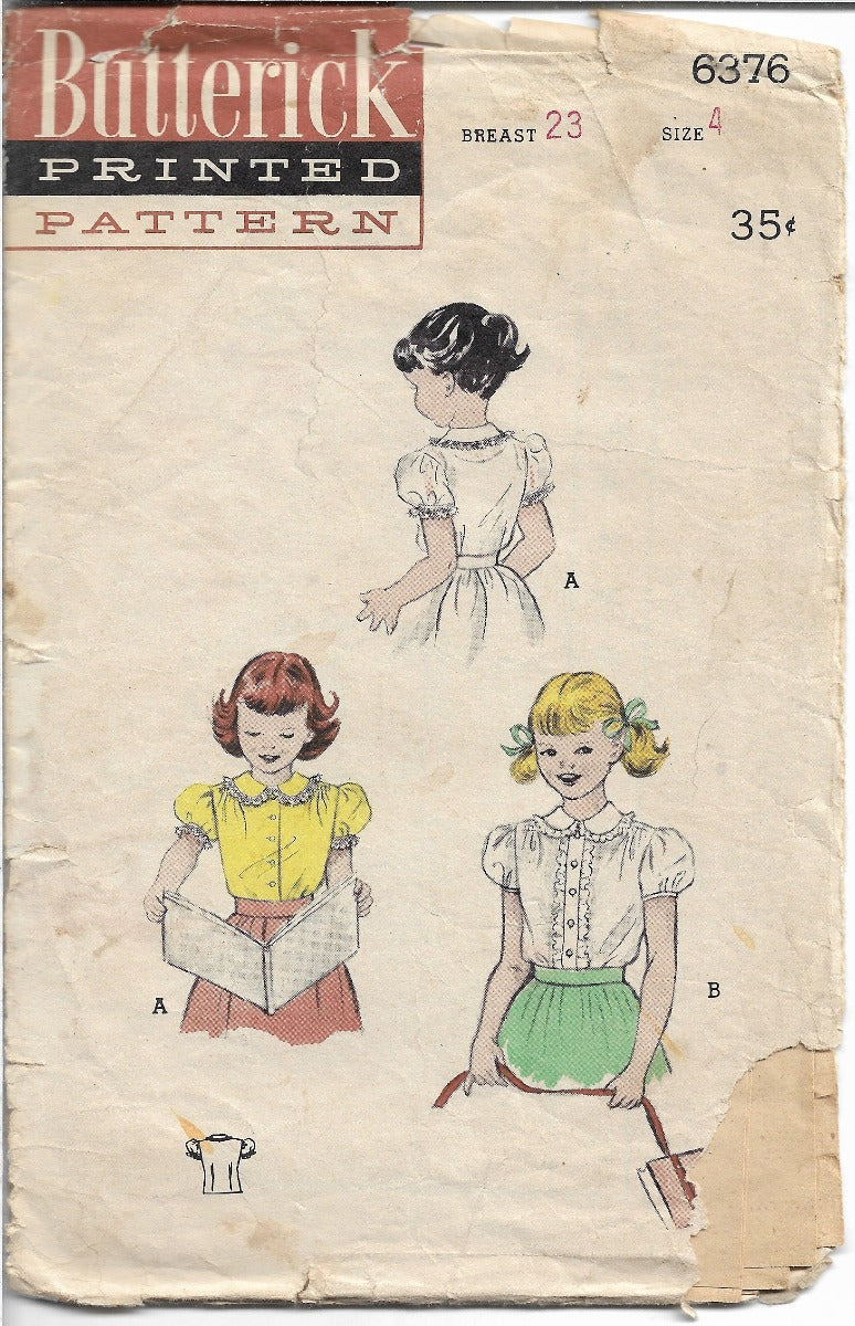 Butterick 6376 Little Girls Blouse Puffed Sleeves Vintage Sewing Pattern 1950s - VintageStitching - Vintage Sewing Patterns