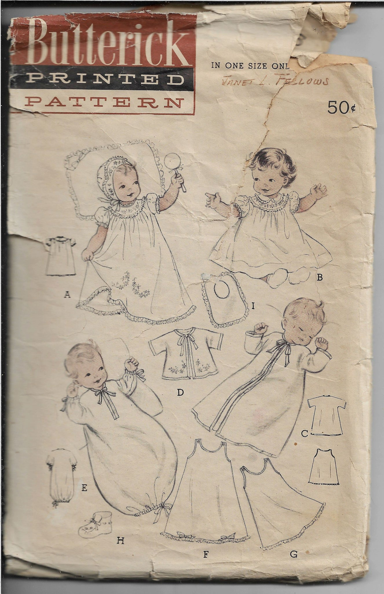 Butterick 6425 Baby Infant Layette Vintage Sewing Pattern 1950s - VintageStitching - Vintage Sewing Patterns