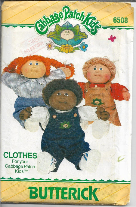 Butterick 6508 Cabbage Patch Kids Clothes Vintage Sewing Pattern 1980s - VintageStitching - Vintage Sewing Patterns